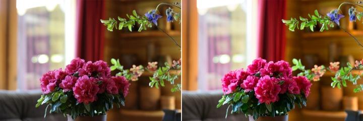 Kreisajā pusē kameras ģenerētais JPEG, labajā Adobe Lightroom 5.5 konvertēts RAW fails