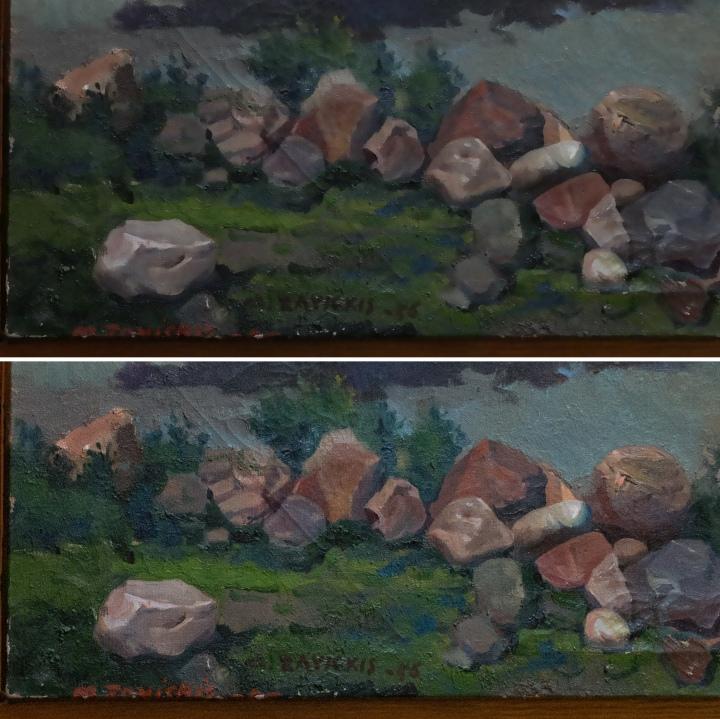 Augšā fragments no kameras  JPEG, apakšā Adobe Lightroom 5.5 RAW
