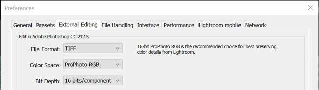 Teksts par ieteicamo krāsu telpas izvēli Lightroom iestatījumu logā oriģinālajā izšķirtspējā ir praktiski nelasāms.