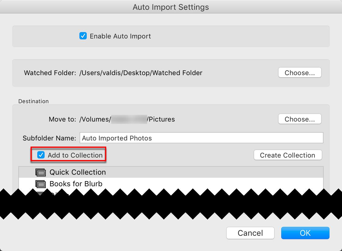 Attēlu iekļaušana kolekcijās izmantojot Auto Import funciju programmā Lightroom Classic