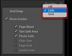 Izlīdzināt šūnas izmantojot Grid Snap programmā Lightroom Classic